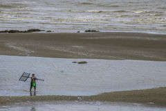 Man with shrimp net on beach at low tide. Stock Image