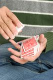 Man Shuffling Cards Stock Photography