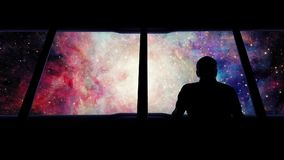 Man On Shuttle Traveling Into Galaxy stock footage