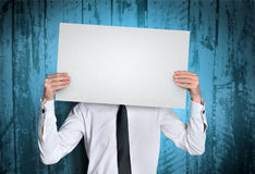 Man shwoing empty board Stock Image