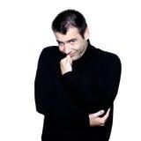 Man shyness portait. Caucasian man smiling portrait expressing portrait on studio isolated white background Stock Images