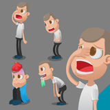 Man Sick Cartoon Character Action Vector Royalty Free Stock Photography