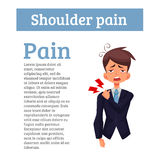 Man is sick in his shoulder, a violation of the spine vector illustration