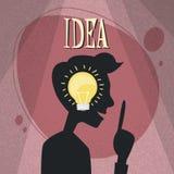 Man Side Head Silhouette Idea LIght Bulb Inside. Black Flat Cartoon Vector Illustration Stock Photo