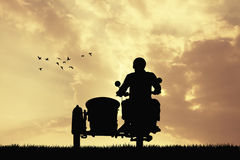Man on sidecar at sunset. Illustration of man on sidecar at sunset Stock Images