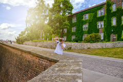 Man during sightseeing old castle in Cracow, Wawel. Stock Photos