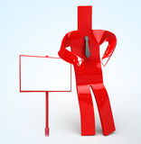 Man with Sign. 3D image of a simple object for use in presentations, manuals, design, etc Stock Photography