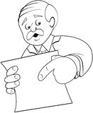 Man with Sign. Concerned middle aged man pointing at a blank sign or paper stock illustration