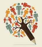 Man sign concept pencil tree. Man shape sign colorful  concept pencil tree design. Vector illustration layered for easy manipulation and custom coloring Royalty Free Stock Image