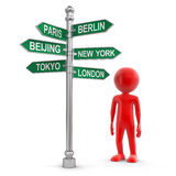 Man and Sign Directions (clipping path included) Stock Image