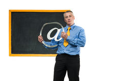 Man with sign of email Royalty Free Stock Photos