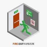 Man sign run to fire exit isometric. Man sign run to fire exit in case of fire do not use elevator isometric Stock Photos
