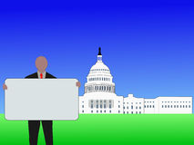 Man with sign Washington DC. Man with blank sign outside Capitol Building Washington DC vector illustration