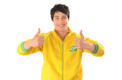 Man signing thumbs up for Brazil. Royalty Free Stock Images