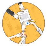 Man signs financial document and his woman helps him to dare to make a decision, employee or lawyer explains terms, top view. People hands and paper. Vector stock illustration