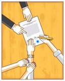 Man signs financial document and his woman helps him to dare to. Make a decision, employee or lawyer explains terms, top view people hands and paper. Vector stock illustration