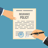 Man signs insurance policy Stock Photo