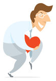 Man silently stealth walking stealing heart or love Royalty Free Stock Image