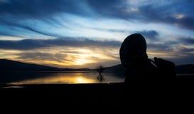 Man silhouette. Look beautiful sunrise Royalty Free Stock Photography