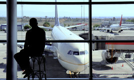 Man silhouette on the airport hall Stock Photo