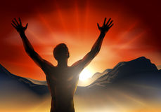 Man in silhouette arms raised on mountain Royalty Free Stock Photos