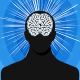 Man silhouette with brain Stock Image