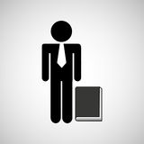Man silhouette business and book design icon. Illustration Stock Photos