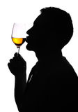 Man of silhouette giving kiss for wine glass Royalty Free Stock Photography