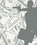 Man silhouette with gun and money. Silhouette of a man on grungy dollars background with gun and a bag full of money Royalty Free Stock Image