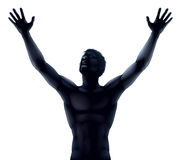Man silhouette hands raised. An illustration of a man in silhouette hands and arms raised stretching up to the sky in praise or joy Royalty Free Stock Photos