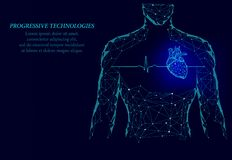 Man silhouette healthy heart beats 3d medicine model low poly. Triangle connected dots glow point blue background. Pulse internal. Body modern progressive royalty free illustration