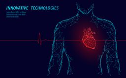 Man silhouette healthy heart beats 3d medicine model low poly. Triangle connected dots glow point red background. Pulse vector illustration