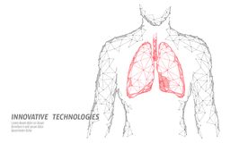 Man silhouette healthy lungs 3d medicine model low poly. Triangle connected dots glow point. Online doctor World. Tuberculosis day modern innovative technology stock illustration