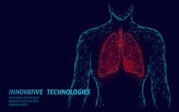 Man silhouette healthy lungs 3d medicine model low poly. Triangle connected dots glow point. Online doctor World. Tuberculosis day modern innovative technology vector illustration