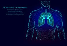 Man silhouette healthy lungs 3d medicine model low poly. The triangle is connected by points of illumination. Human lungs have. Veins and various nerves royalty free illustration