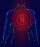 Man silhouette heart beats 3d medicine disease model low poly. Triangle connected dots glow point red blue background. Wave pain i. Mpulse from internal body Stock Photography