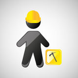 man silhouette helmet and pick design graphic Stock Images