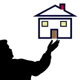 Man silhouette house real estate royalty free stock photography