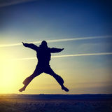 Man Silhouette jumping Royalty Free Stock Photo