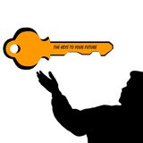 Man silhouette key to your future. Man silhouette illustration made from my own custom,one of a kind shape tool. this image comes with key to your future image vector illustration