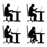Man silhouette with laptop in office set illustration Stock Image