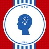 Man silhouette - Light bulb with dollar symbol business concept. Icon. Graphic element for your design Royalty Free Stock Photos
