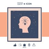Man silhouette - Light bulb with dollar symbol business concept. Icon. Man head with Light bulb with dollar symbol business concept Royalty Free Stock Photography