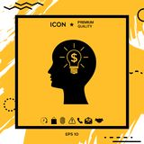 Man silhouette - Light bulb with dollar symbol business concept. Icon. Man head with Light bulb with dollar symbol business concept. . Element for your design Stock Images