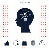 Man silhouette - Light bulb with dollar symbol business concept. Icon. Man head with Light bulb with dollar symbol business concept. . Signs and symbols Stock Photography