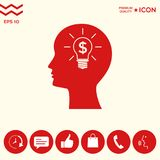 Man silhouette - Light bulb with dollar symbol business concept. Icon. Man head with Light bulb with dollar symbol business concept. . Signs and symbols Stock Image