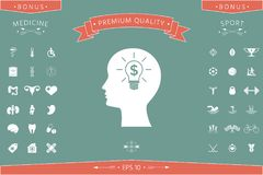 Man silhouette - Light bulb with dollar symbol business concept. Icon. Man head with Light bulb with dollar symbol business concept. . Signs and symbols Royalty Free Stock Photos