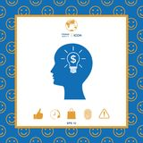 Man silhouette - Light bulb with dollar symbol business concept. Icon. Man head with Light bulb with dollar symbol business concept. . Signs and symbols Stock Photo