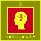 Man silhouette - Light bulb with dollar symbol business concept. Icon. Man head with Light bulb with dollar symbol business concept. . Signs and symbols Royalty Free Stock Photo