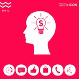 Man silhouette - Light bulb with dollar symbol business concept. Icon. Man head with Light bulb with dollar symbol business concept. . Signs and symbols Royalty Free Stock Photography